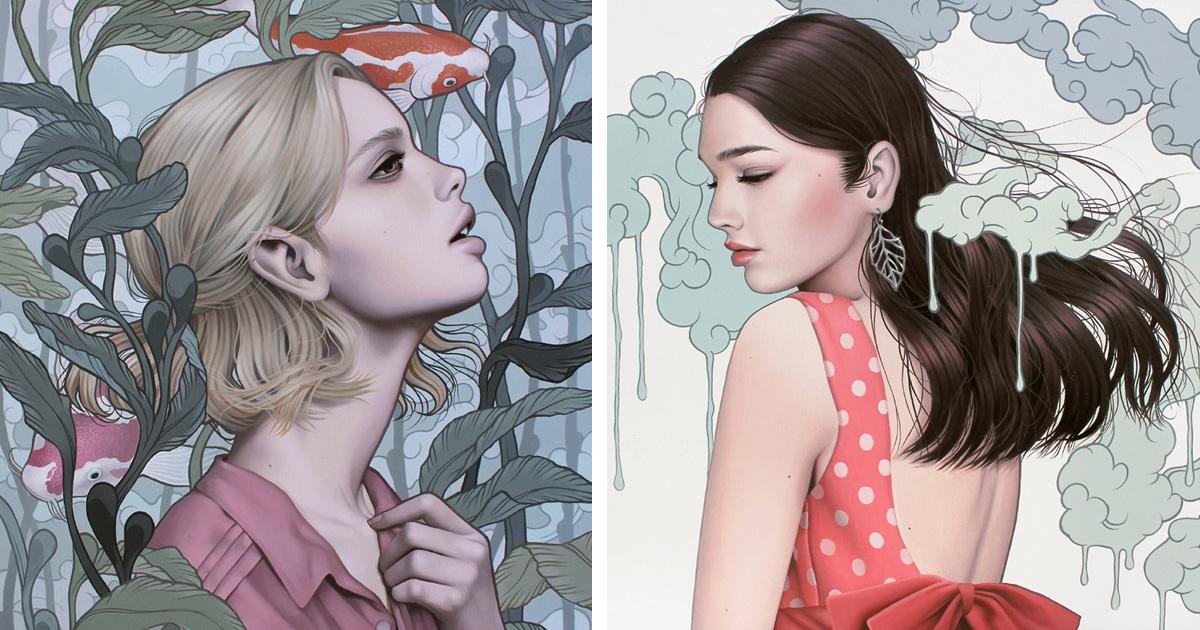 Pinturas surrealistas de mulheres incorporam emoções da natureza e objetos inanimados