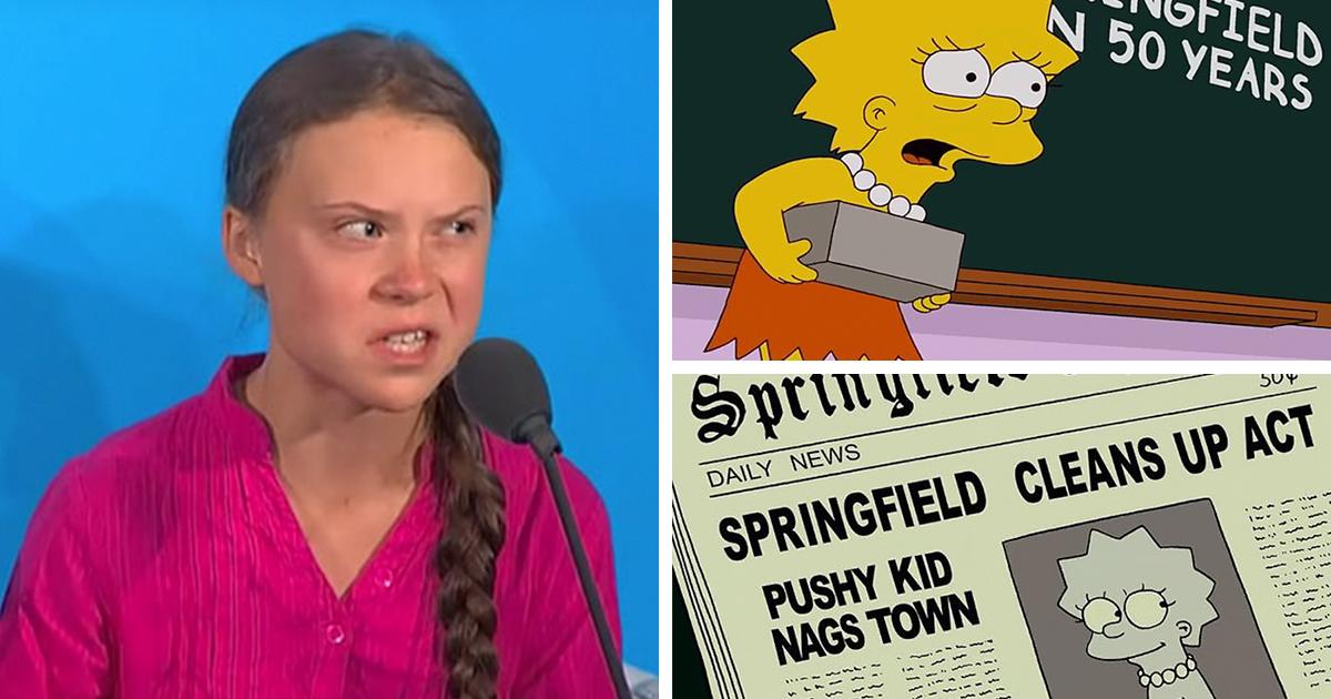 Os Simpsons fizeram isso primeiro: as pessoas pensam que o show icônico previu Greta Thunberg