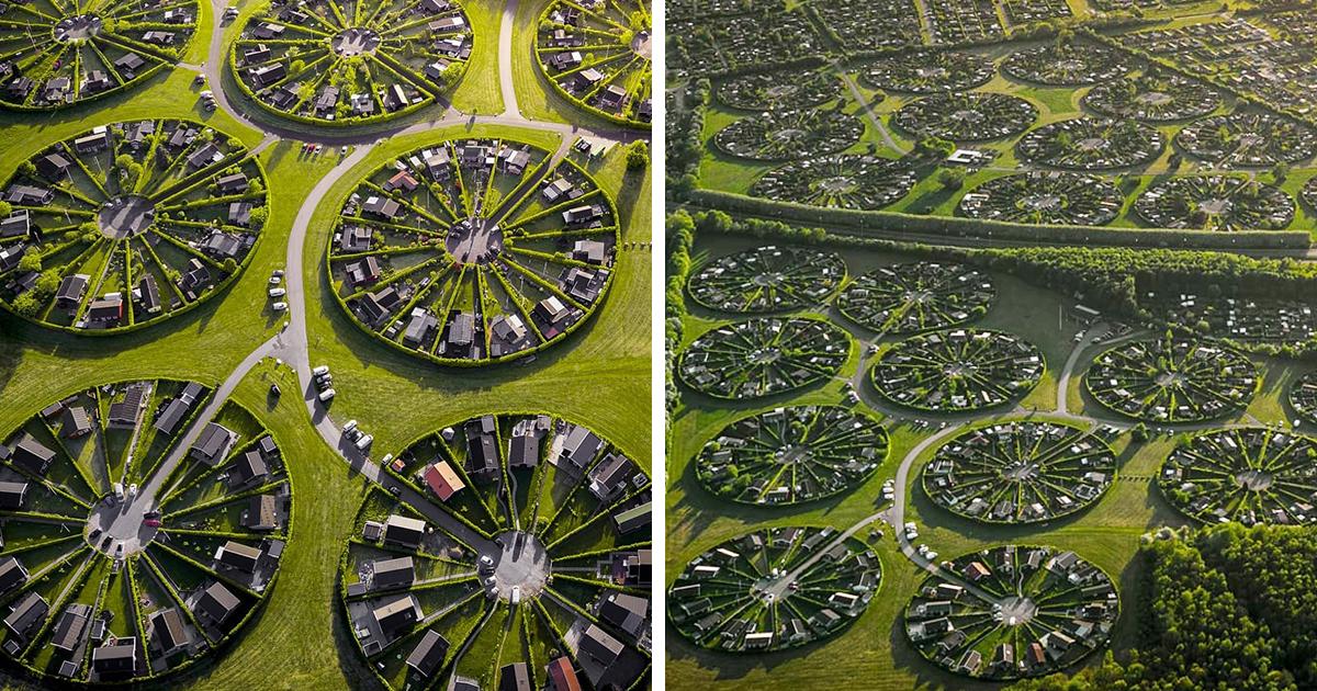 Conheça Brøndby Garden City, uma comunidade com jardins circulares comunitários na Dinamarca