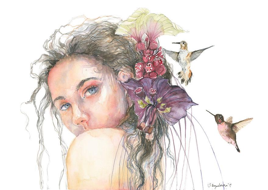 Meu sonho é me tornar uma artista de sucesso e estas são minhas pinturas em aquarela