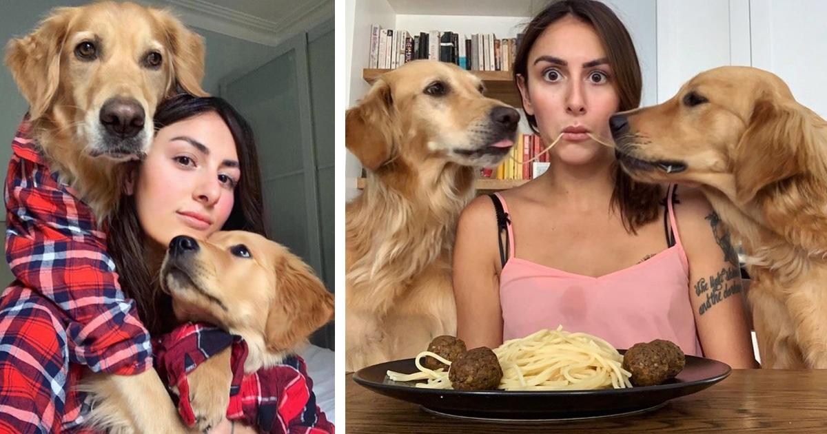 Fotos engraçadas mostram o vínculo inquebrável entre esta dona e seus cães