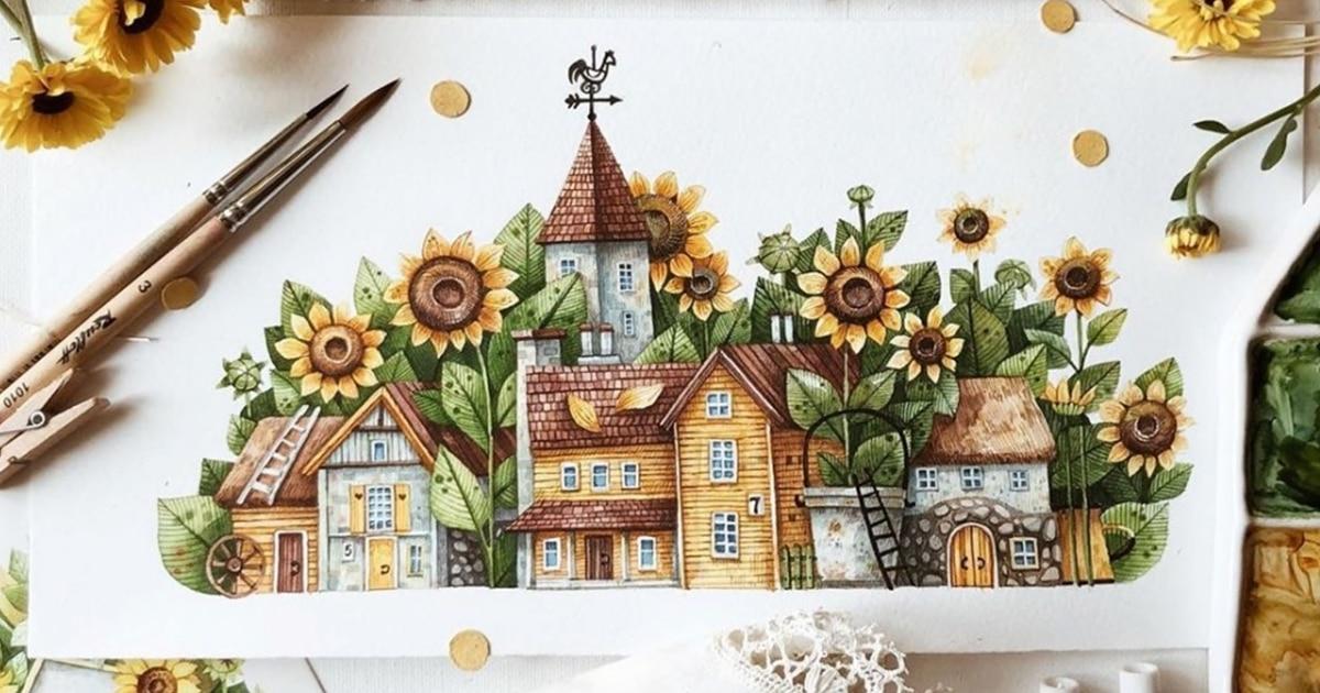 Pinturas em aquarela encantadoras retratam cidadezinhas mágicas dentro de jardins de flores
