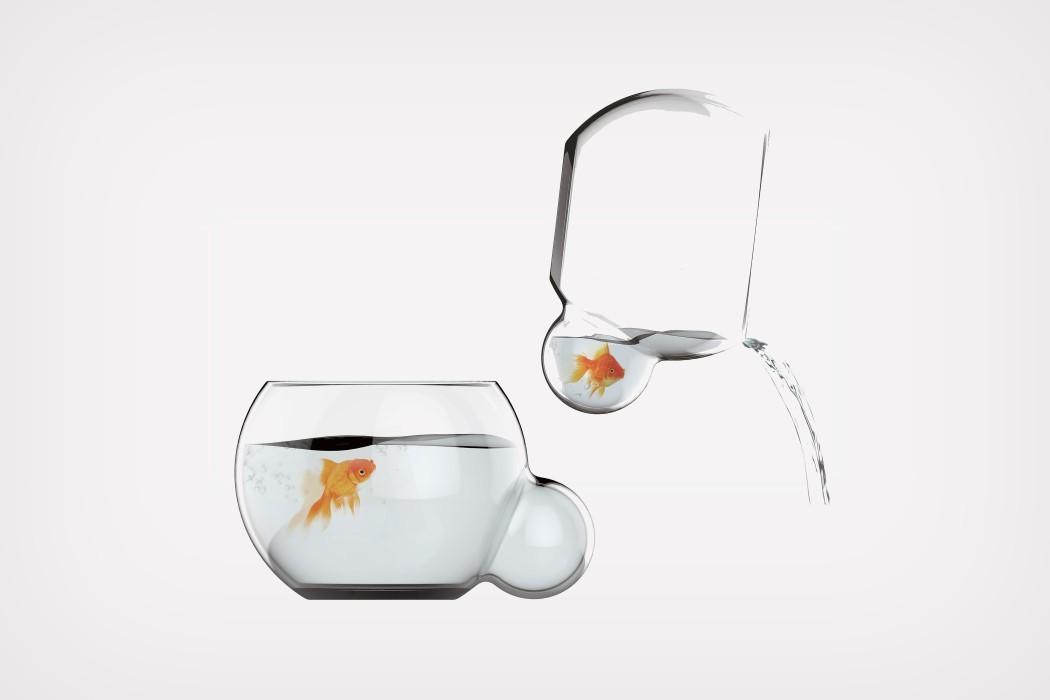 Um aquário que permite trocar a água sem desalojar o peixe