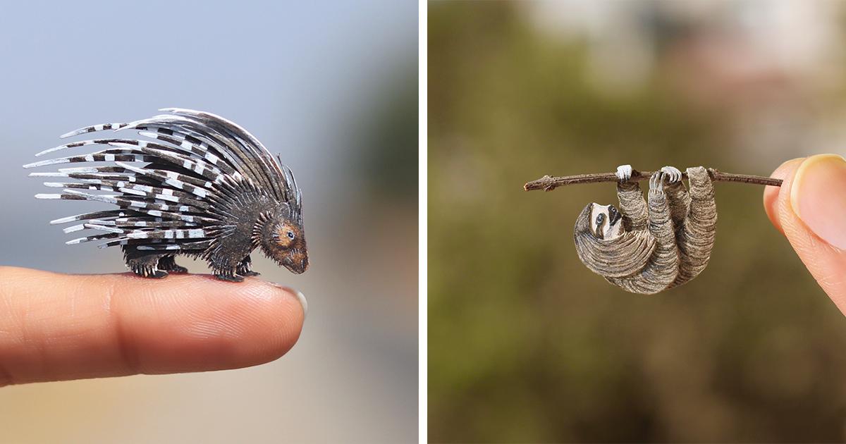 Artistas criam recortes de papel de animais em miniatura para mostrar a importância dos animais