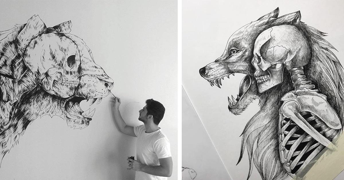 Desenhos de caneta impressionantes ilustram a conexão humana com a natureza