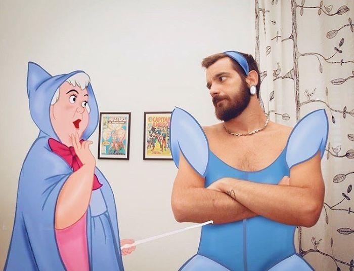 30 photoshops engraçados deste artista se divertindo em aventuras com personagens da Disney