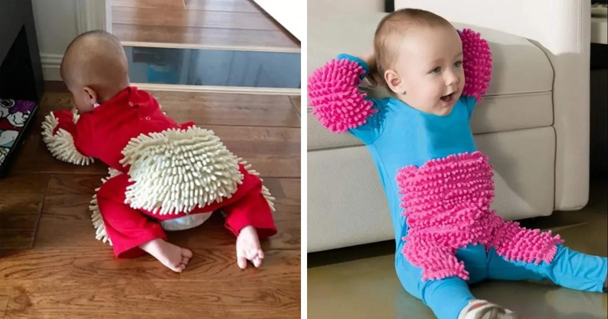 """Conheça o """"BabyMop"""", um macacão de bebê que promete deixar sua casa limpa"""