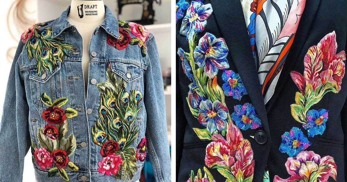 Artista de bordados latino-americana cobre jaquetas jeans com a flora colorida da Colômbia