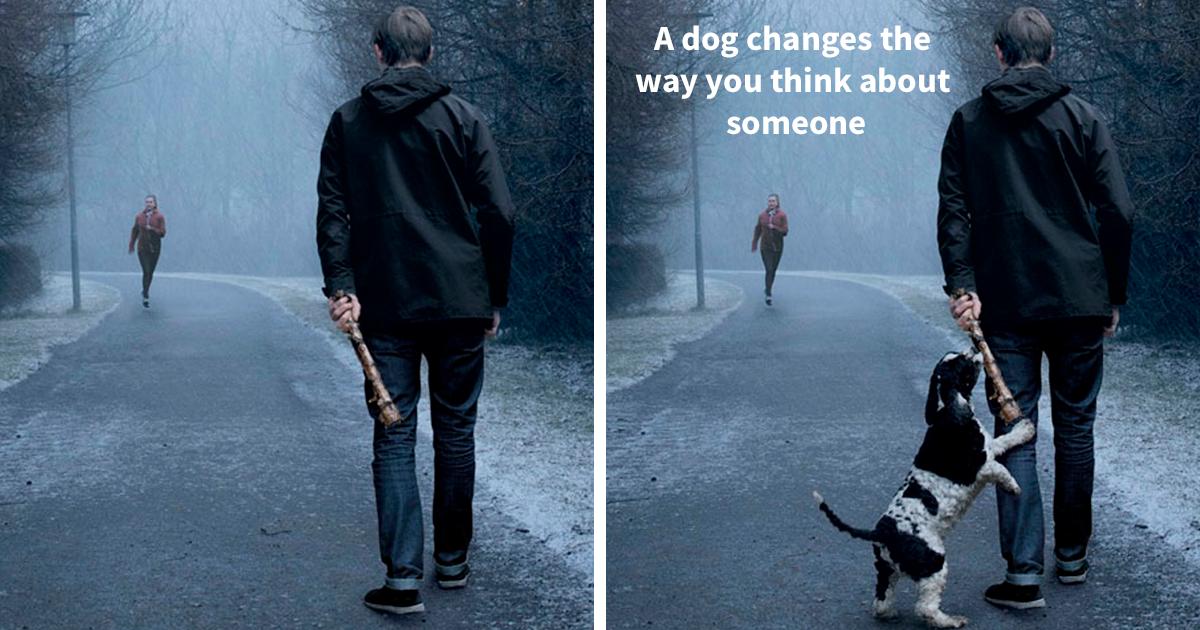 Campanha publicitária mostra como um cachorro pode transformar a vida de uma pessoa