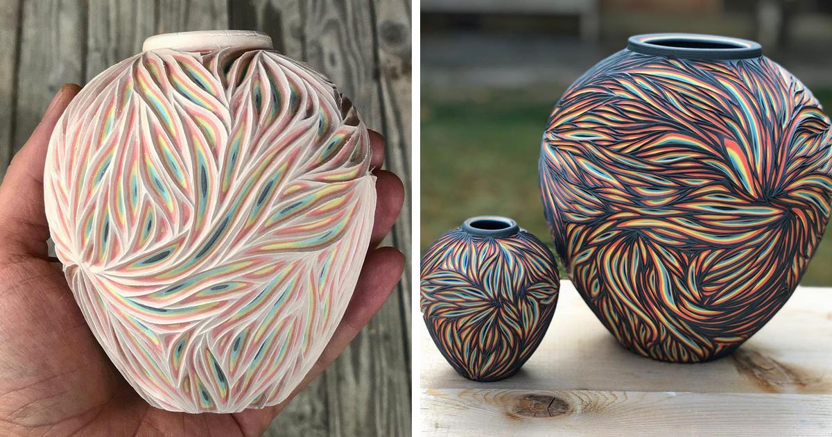Artista esculpe cerâmica e camadas inesperadas de cores são reveladas por baixo