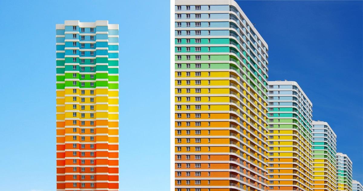 Fotografias coloridas em tons de arco-íris da arquitetura da Turquia