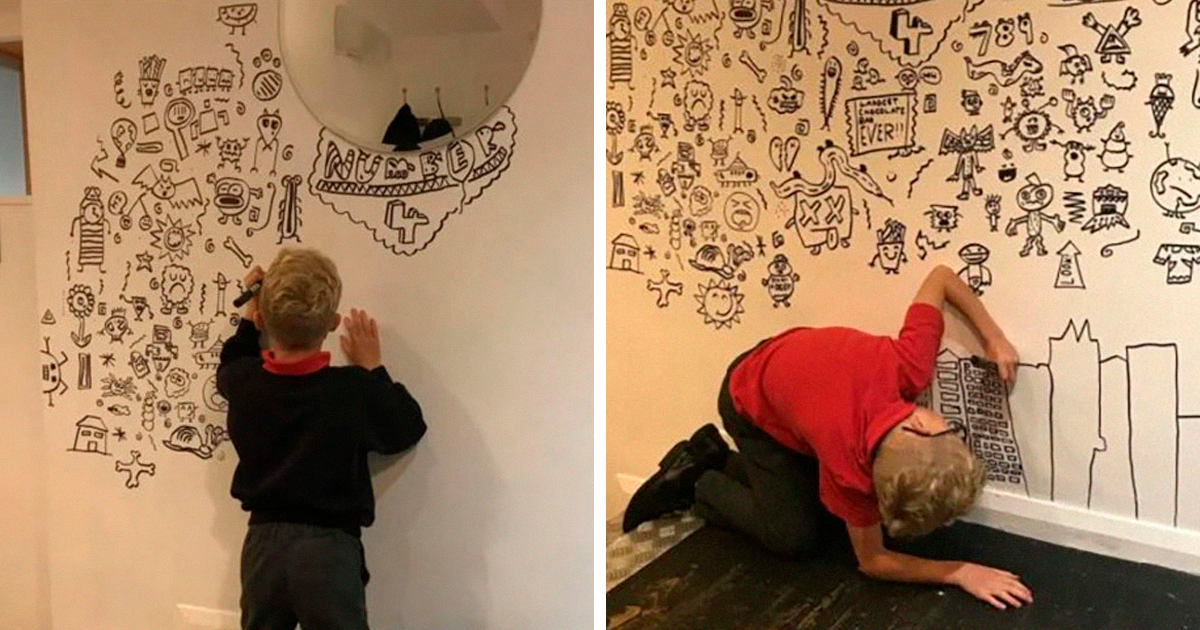 Garoto de 9 anos que se meteu em problemas por rabiscar na aula consegue um emprego decorando um restaurante com seus desenhos