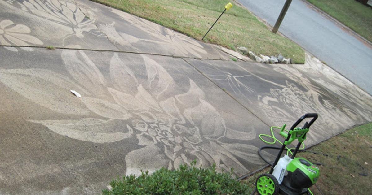 Mulher ganha uma lavadora de alta pressão de aniversário e cria obras de arte impressionantes nas calçadas