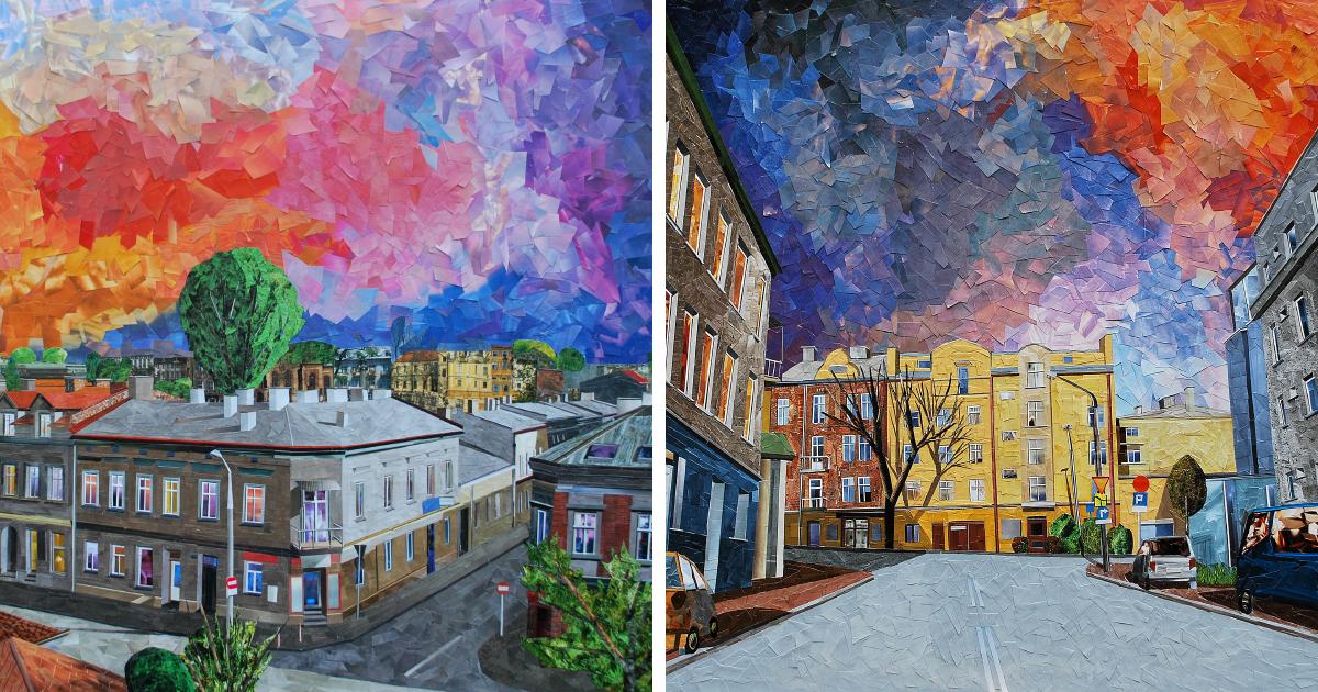 39 paisagens urbanas que parecem pinturas a óleo criadas apenas com papel e cola