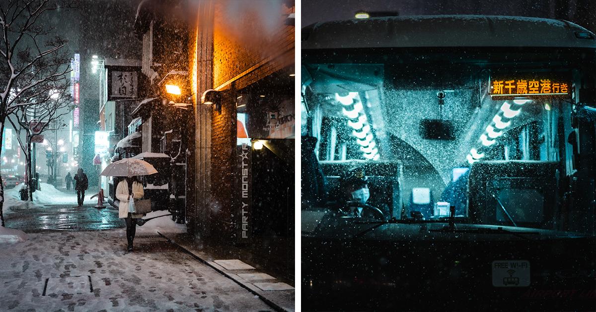 Ele passou 3 semanas no inverno do Japão, e aqui estão suas melhores fotos inspiradas em filmes cyberpunk e noir