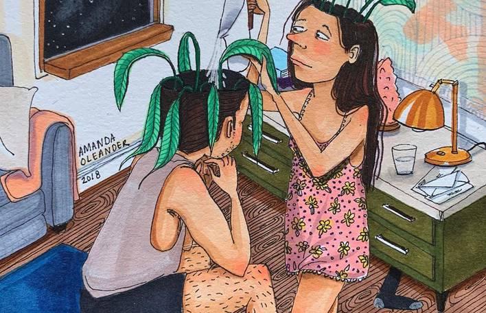 Ilustrações coloridas e com traços infantis que ilustram delicadamente a intimidade da vida de um casal