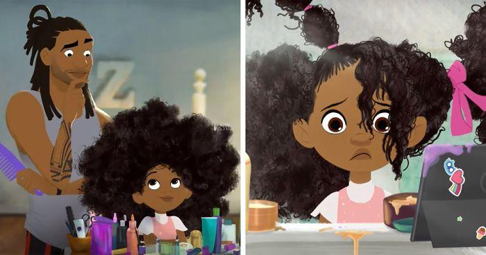 Você Vai Se Emocionar Com Esta Curta Animação De Um Pai Afro-Americano Aprendendo A Pentear O Cabelo De Sua Filha Pela Primeira Vez