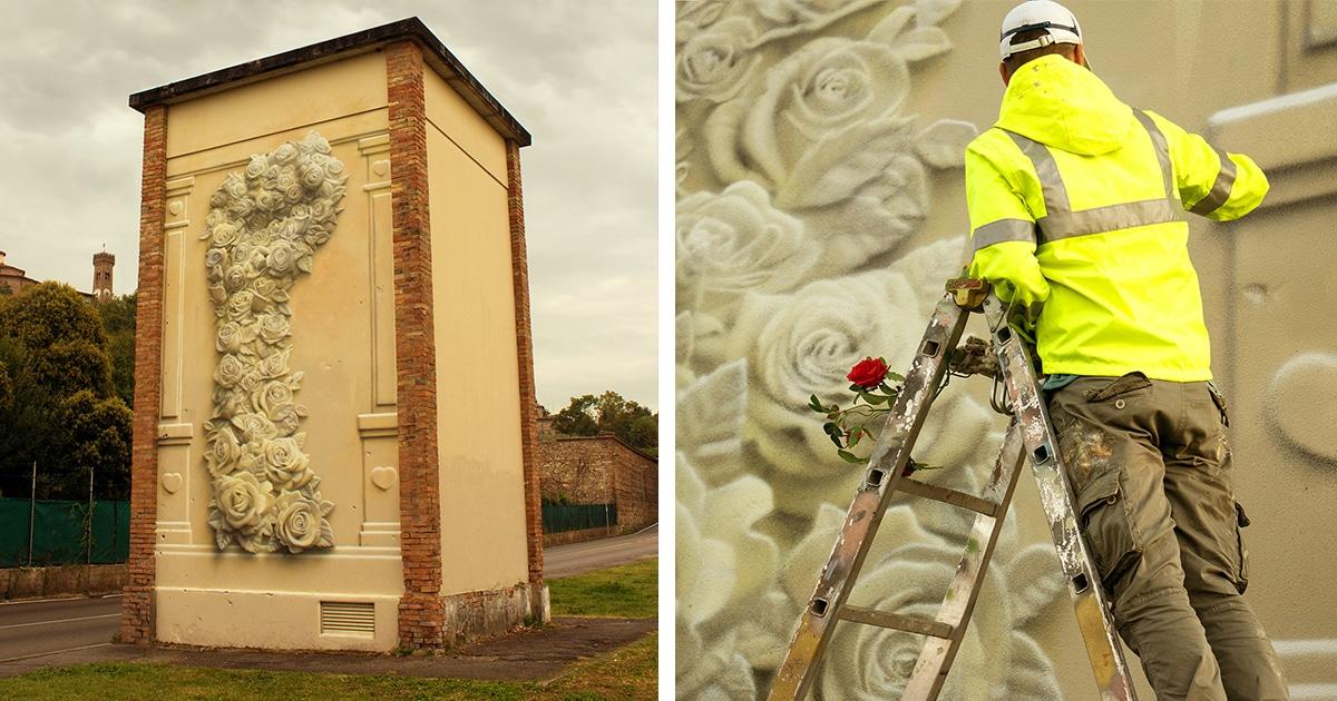 Artista De Rua Pinta Um Belo Punho Feito De Flores Para Simbolizar O Poder Da Paz
