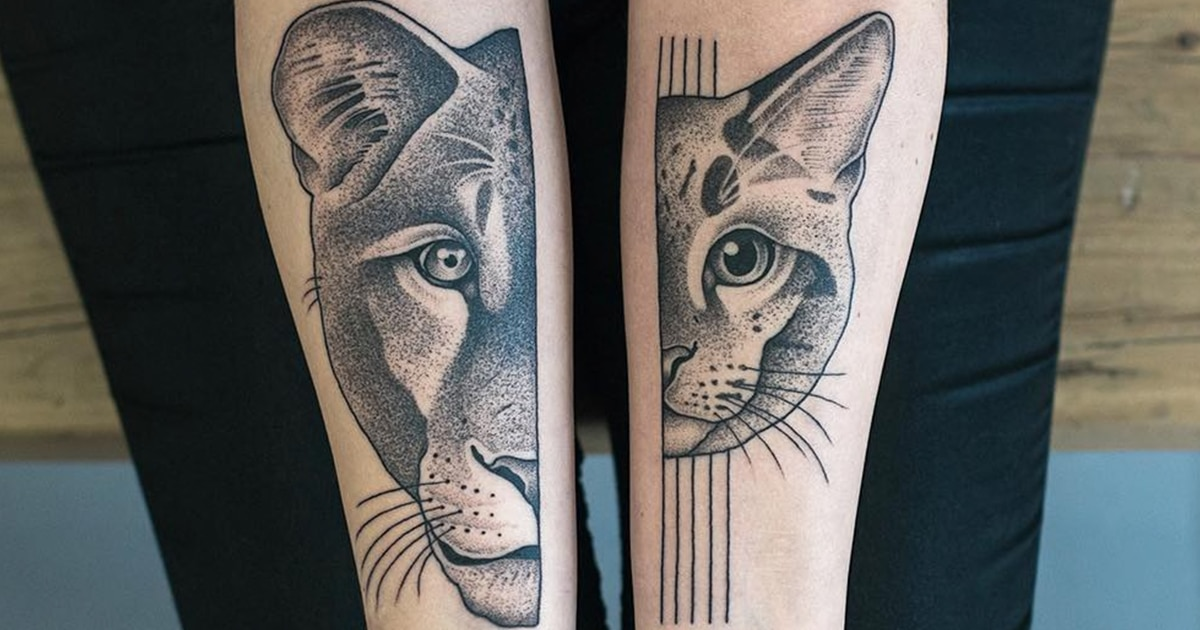 19 Tatuagens Simétricas Divididas E Incrivelmente Tatuadas Em Membros Separados