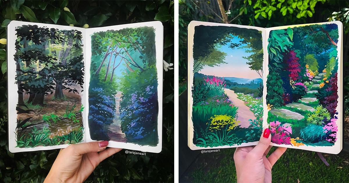 Artista Enche Cadernos De Esboços Com Vibrantes Pinturas De Paisagens Inspiradas No Studio Ghibli
