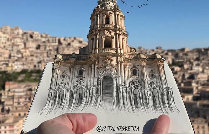 10 Desenhos Que Interagem Com Pontos Turísticos Por Um Artista Italiano