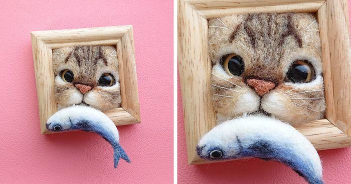 30 Retratos De Gatinhos Muito Fofos Feitos A Partir De Feltro