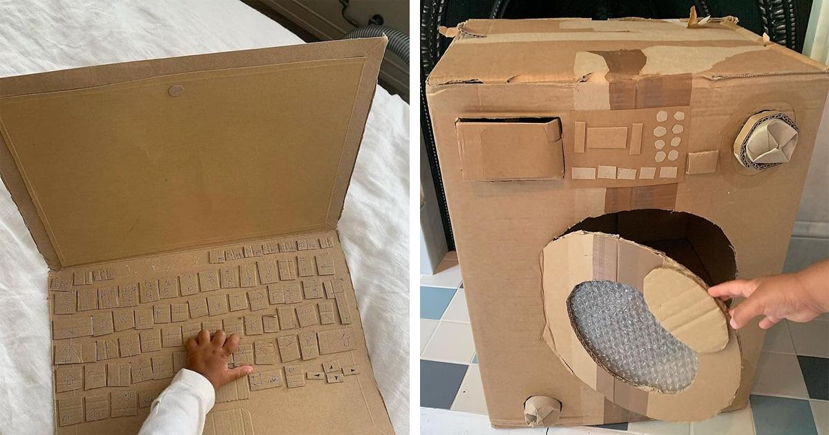 Mãe Criativa Cria Itens Domésticos De Papelão Para Os Filhos Aprenderem A Usá-los