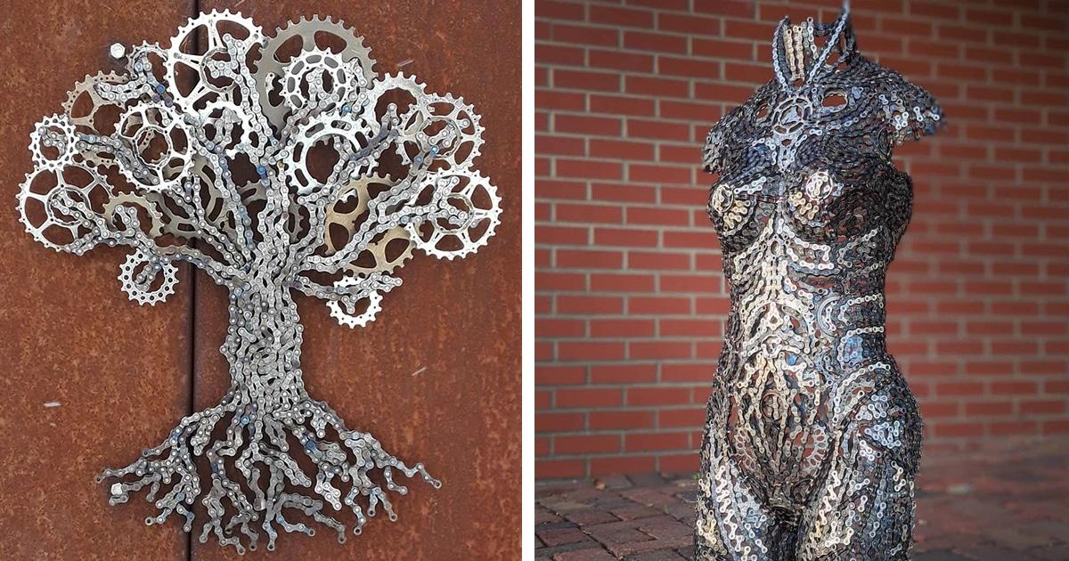 Artista Transforma Correntes Velhas De Bicicleta Em Esculturas Espetaculares