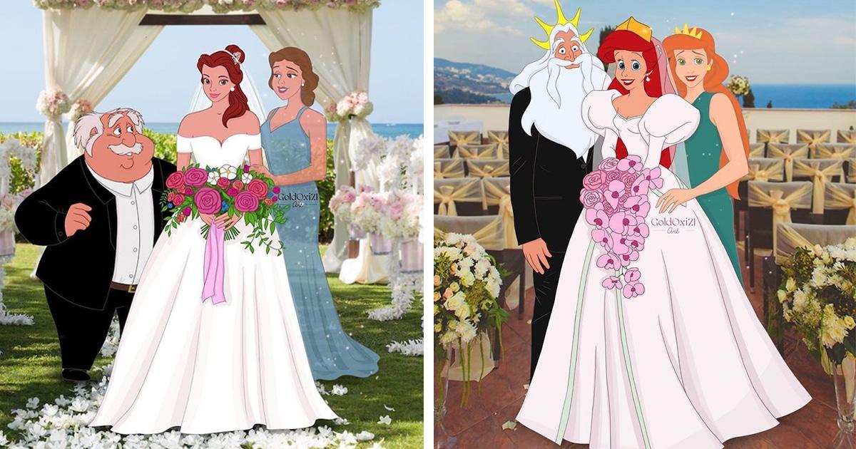 7 Personagens da Disney Como Noivas Posando Para Fotos de Casamento