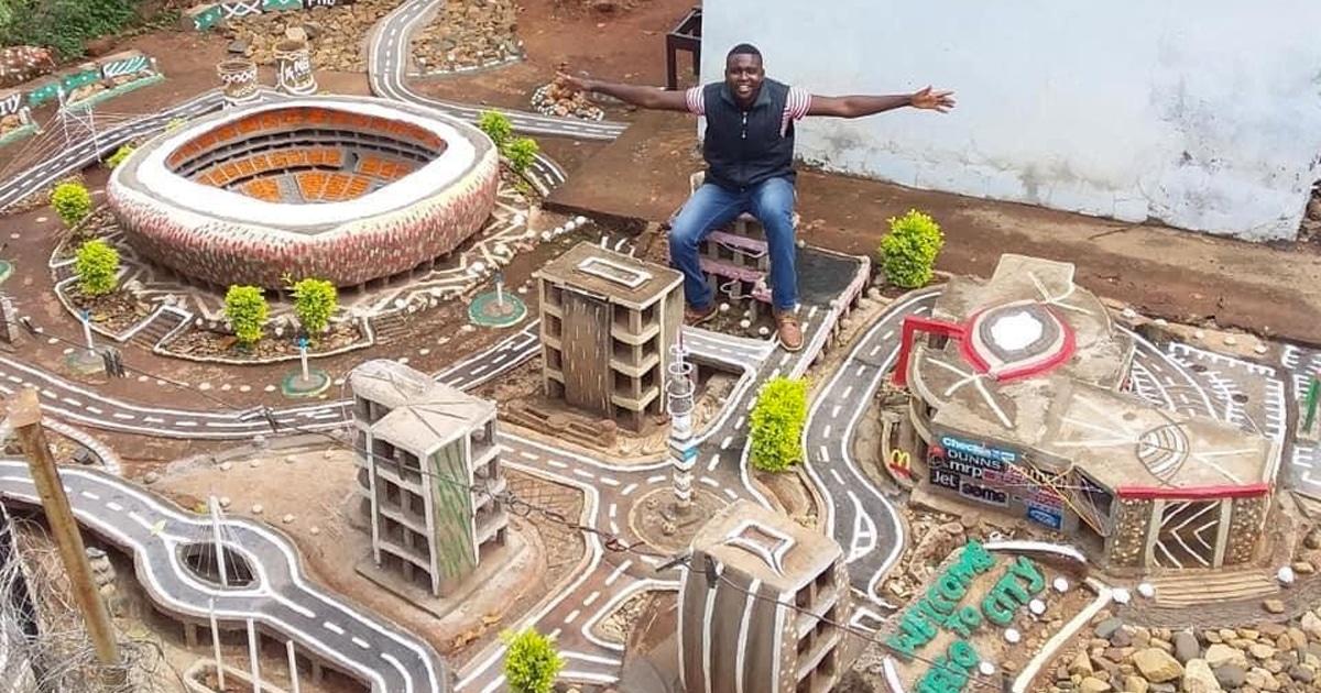 Designer Cria Mini Réplica De Joanesburgo Em Seu Quintal Com Materiais Reciclados